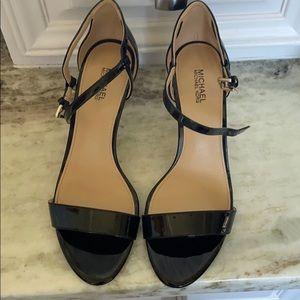 Michael Kors black patent leather sandals, 7.5